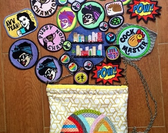 25 Piece Patch Lot & Embroidered Bag