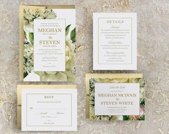 greenery watercolor wedding invitations, wedding invitation with greenery, greenery wedding invitation, floral greenery wedding invitation