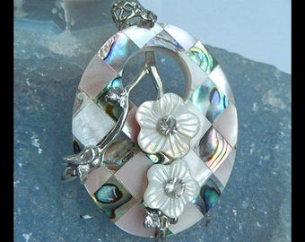 Carved Abalone Shell Flower Pendant,Elegant Charm Necklace Bead For Women,53x35x9mm,16.8g(f0947)