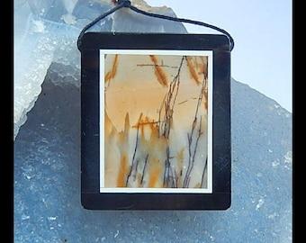 Multi-Color Picasso Jasper,Obsidian Intarsia Pendant Bead,38x32x6mm,17.6g(h0115)