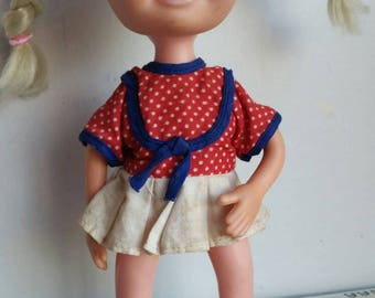 Vintage Kitsch Creepy Cute, UNEEDA Little sophisticate closed eye eyelashed big eyes pigtails doll 1960's shoes dress plaits braids blonde