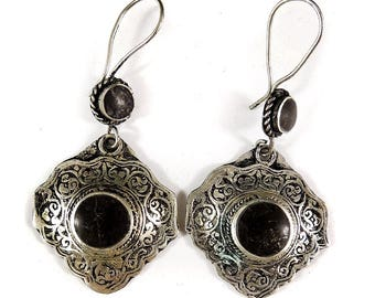 Earrings Silver Black Stone Afghanistan 109604