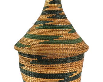 Tutsi Basket Lidded Tight Weave Rwanda Old African Art 112893