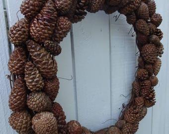 Pine Cone Wreath  Natural Wreath  Autumn Wreath Holiday Wreath Door Wreath  Dried Wreath  Christmas Wreath  Rustic Wedding