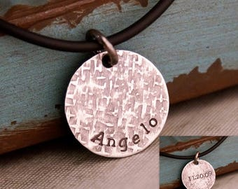 Father's Day Gift / Kids Names Necklace / Hand Stamped Sterling Silver Daddy Name Tag / Personalized Jewelry for Him / Doublesided