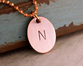 Custom initial Oval Tag / Rustic Copper Tag / Kids initials Necklace / Antique copper Initials Tag / Father's Day / Men Jewelry