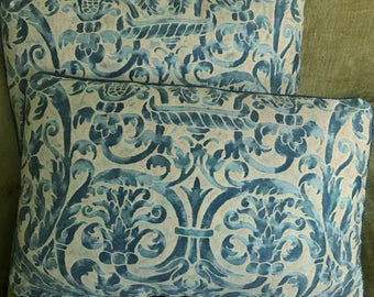 Mariano Fortuny Cotton Fabric Custom Designer Throw Pillows Uccelli Blue Beige Pair New