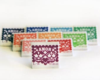 Papel picado wedding favors Day of the Dead, 60 magnets for Elba