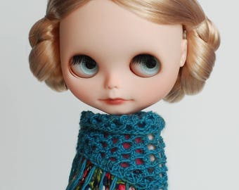 Triangle scarf with frays for Blythe, dark teal-blue