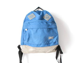 80s BACKPACK blue NYLON & leather suede mountianeering daypack CLASSIC lightweight hiking biking bag