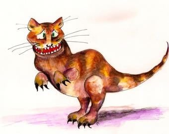 CATasaurus-Whimsical Art Print by SQ Streater-Free Shipping