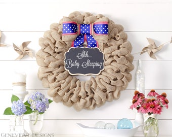 Baby Sleeping Sign, Hospital Door Wreath, Baby Girl Gift, New Baby Gift, Personalized Baby Gifts, Unique gifts for a baby shower,