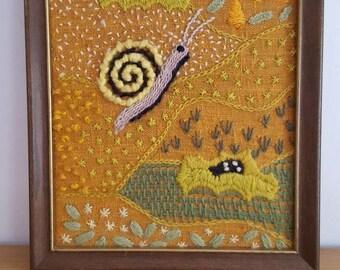 Vintage 1970's Crewel Stitchery Snail Earthtones Framed Wallhanging