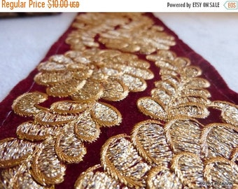 ilovesales Wide Maroon Velvet gold embroidered  floral  trim- 1 yard