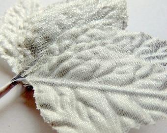 Discount Decorative Silver fabric leaves- 1 dozen Fabric leaves - Christmas Decor