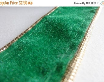 ilovesales Velvet Ribbon Trim in Green- 1 Yard