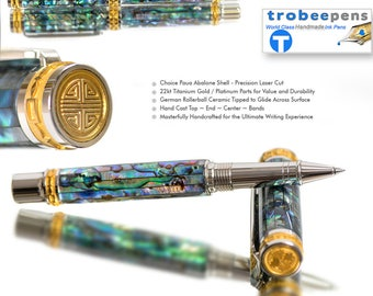 Special Rollerball Pen - Handcrafted Paua Abalone Shell - Top of the Line Pen - High End Pen - smooth writing instrument custom made gift