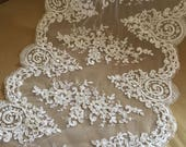 White Alencon Lace Fabric Floral Peal Beaded Sequined Wedding Lace Fabric Dress Coat Fabric 14.96 Inches Wide 1 Yard