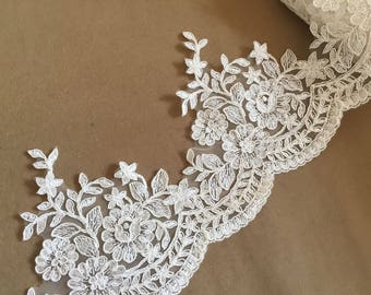 Ivory Alencon Lace Trim Luxury Floral Scalloped Wedding Lace Trim Retro Lace Bridal Lace 6 Inches Wide 1 Yard