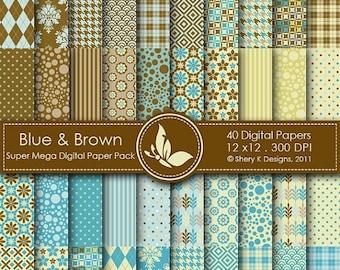 40% off Blue and Brown Super Mega Paper Pack - 40 Printable Digital papers - 12 x12 - 300 DPI