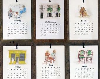 2017 Printable CALENDAR - Paris Wall Calendar papercraft, Monthly Calendar, Calendar Download, diy Art Calendar, printable gift pdf