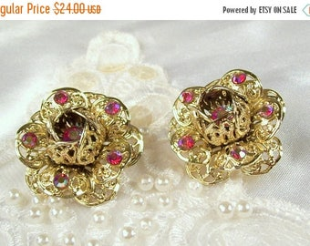 ON SALE Vintage Sarah Coventry Rhinestone Earrings Clip On Lacy Gold Tone Filigree Rose Aurora Borealis