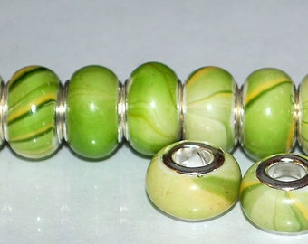 18 pcs Lime Chartreuse & Gold Acrylic Resin Silver Line Large Hole Beads for European Charm Bracelets