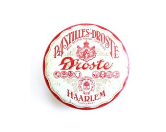 Red & White Vintage Tins / vintage candy box. pastilles-droste tin cans chocolate . vintage tin box . tin candy box