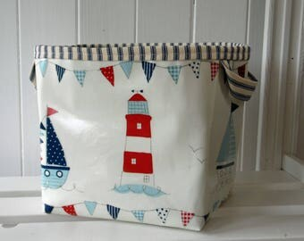 Nautical Beach Huts, Lighthouses & Boats Print  Large Storage Basket Bin