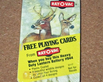 Vintage WHITETAIL DEER Deck Playing Cards Rayovac Advertising Unopened Paul Birling