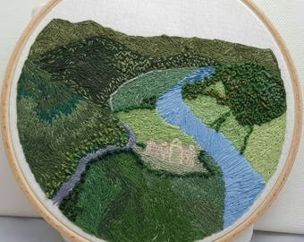 Tintern abbey and Wye Valley from the devil's pulpit, Hand Embroidery