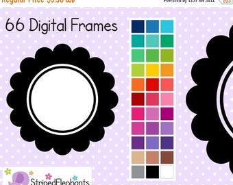 40% OFF SALE Line Flower Digital Frames - Clipart Frames - Instant Download - Commercial Use