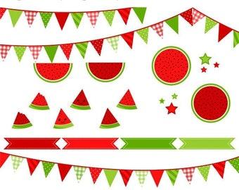 40% OFF SALE Watermelon Clip Art, Fruit Digital Clip Art, Cute Clipart, Summer Clipart, Vector Graphic, Instant Download, Commercial Use