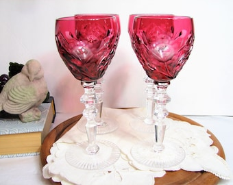 Mid-Century Beyer Bleikristall Cranberry Cut to Clear Floral Liqueur, Sherry Glasses, Set of 4 ... German Crystal, Bohemian Stemware
