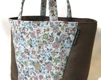Tote Granny flowers,  Brown Tote, Office Tote , Floral Tote, Tote Shopper, teachers bag, real estate tote, book tote AT11X11M-Flowers