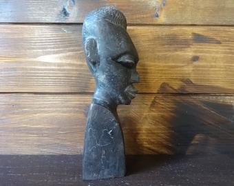 Vintage African Bust Head Face Man Woman Idol Statue Primitive Art Carving Sculpture Wooden Wood Ebony circa 1950-1970's / English Shop