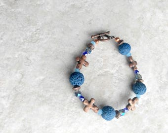 Essential oil diffuser, Bracelet, lava beads, cobalt blue, cross bracelet, easter jewelry, copper and blue, mothers day gift, gift for her