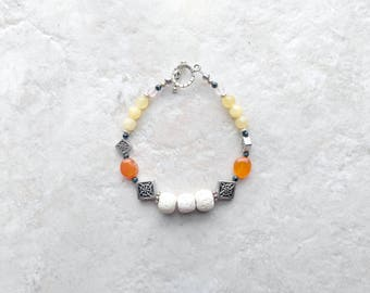 Essential oil diffuser, Bracelet, lava bead bracelet, orange and yellow, mothers day gifts, gift for her, silver and white, carnelian, jade