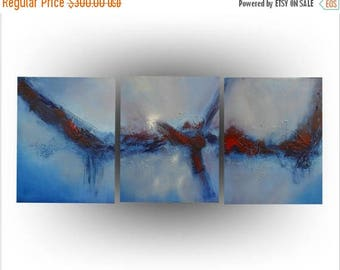 ON SALE Triptych - Modern Abstract - Acrylic Blue and Red painting Art - Pallette knife - Texture Canvas - 20 x 48 -Skye Taylor