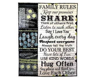 "Quilted Wall Hanging, Family Rules Fiber Art, Home Decor Quilt,  Modern Patchwork Wall Art, 34"" X 42"", Inspirational Words, Family Sayings"