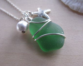 Rich Emerald Green Sea Glass Jewelry Green Beach Glass Necklace with Starfish and Pearl