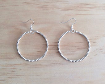 Silver Circle Earrings - Free Shipping Worldwide