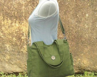 On Sale 20% off Grass green tote bag, messenger bag for women, canvas diaper bag, travel bag