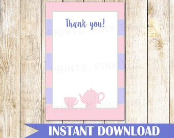 Tea Party Thank You Card Tea Party Thank You Note Tea Party Birthday Thank You Card Tea Party Baby Shower Blush Pink Purple INSTANT DOWNLOAD