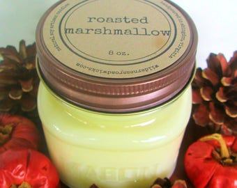 Roasted Marshmallow 8 ounce Soy Mason Jar Candle // Wood Wick // Fall/Winter Scent