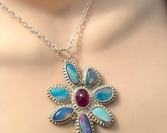 SUMMER Sale Multi opal and pink tourmaline sterling silver ooak necklace