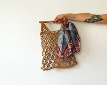 Vintage Sisal Market Bag w/ Bamboo Handle