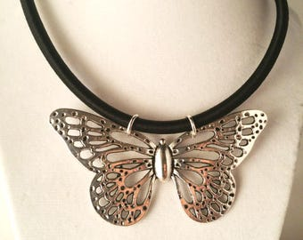 Vintage Silver Butterfly Pendant Necklace