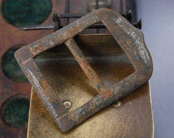 Antique brass plate, part of buckle, dark patina