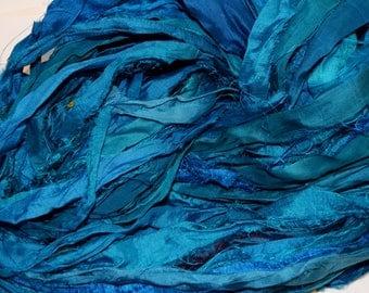 Recycled Sari Silk Ribbon Yarn Hot Teal multi color, 65 yards,3.5 oz / 100 grams